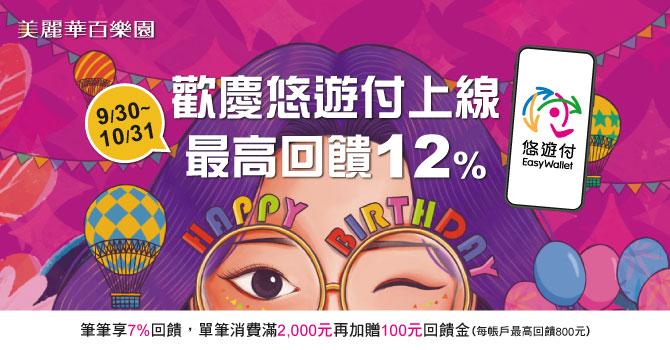 悠遊卡 》美麗華17th週年慶 悠遊付新上線 最高回饋12%【2021/10/31止】